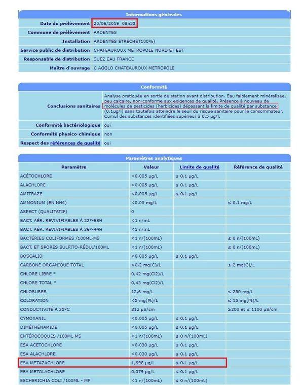 L'un des relevés d'analyses du ministère de la santé montrant le dépassement de la limite de qualité de l'ESA métazachlore.