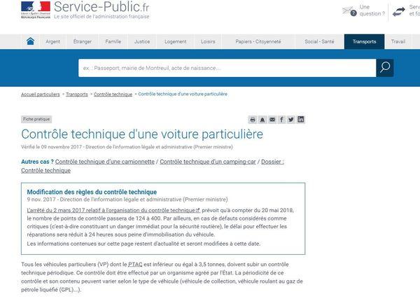 L'anonnce sur le site officiel Service-Public.fr