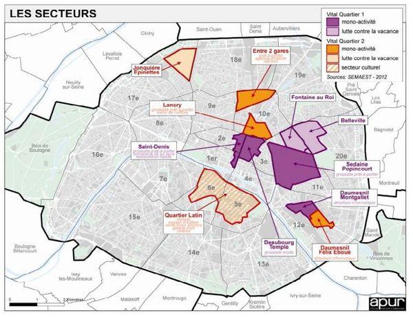 Les secteurs concernés par l'opération Vital'Quartier.