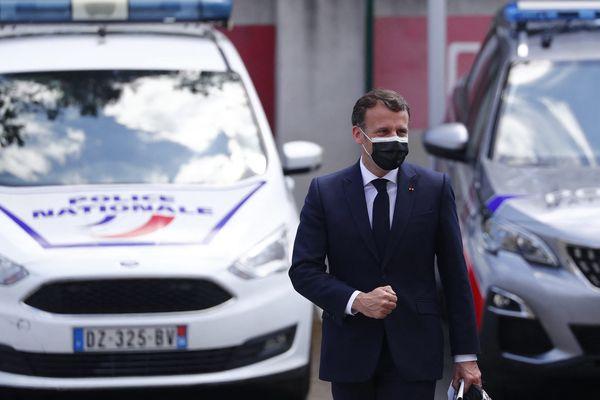 Emmanuel Macron lors de son déplacement à Montpellier ce lundi 19 avril.