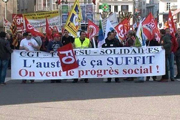 Manifestation à Limoges ce matin contre le Pacte de Responsabilité