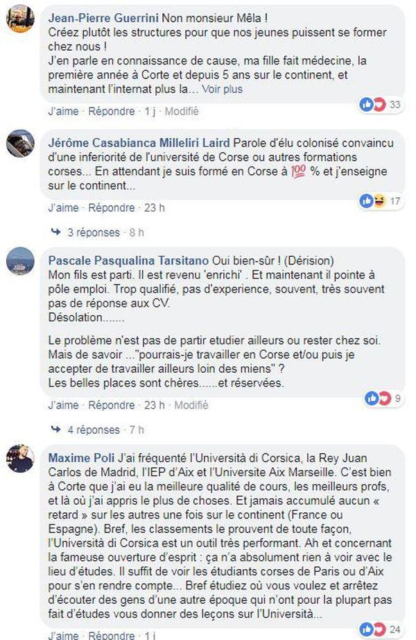 Commentaires sur la page Facebook de Corse Matin.
