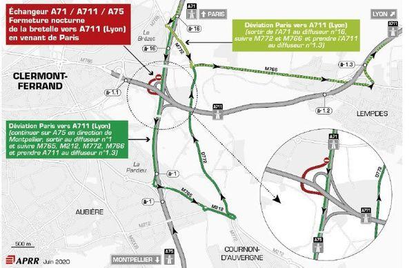La nuit du 17 juin, la bretelle d'accès à l'A71 près de Clermont-Ferrand sera fermée.