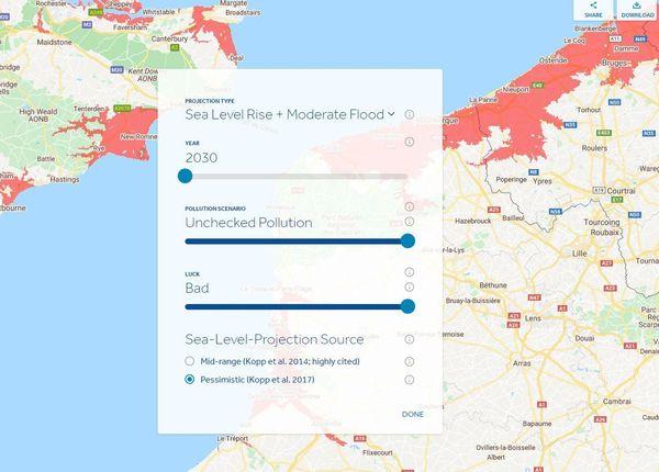 Pour modifier la carte, l'internaute peut influer sur différents critères : le temps, le niveau de pollution, l'influence de la montée des eaux ou des inondations et même sur le critère chance.