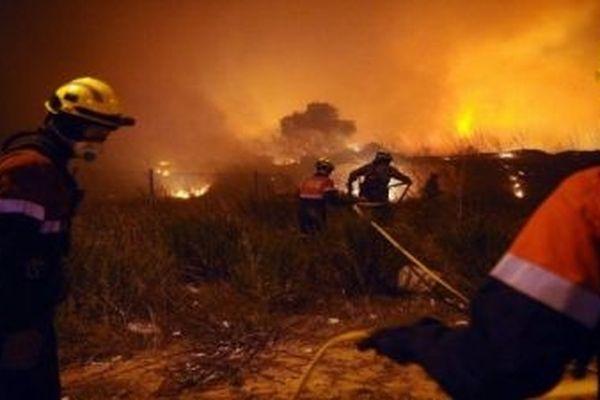 Pompiers espagnols et français luttent contre un incendie en Catalogne. Archives