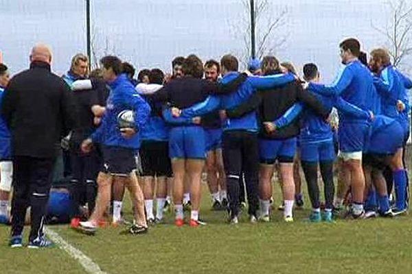 Frontignan (Hérault) - le MHR à l'entraînement avant sa rencontre contre Toulouse - février 2016.