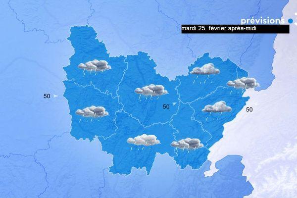 Les prévisions de Météo-France en Bourgogne-Franche-Comté pour l'après-midi du mardi 25 février 2020.
