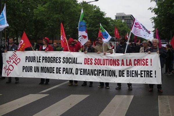 Lyon, le 1er mai 2015 au départ de la manifestation, Place Jean-Jaurès à Lyon