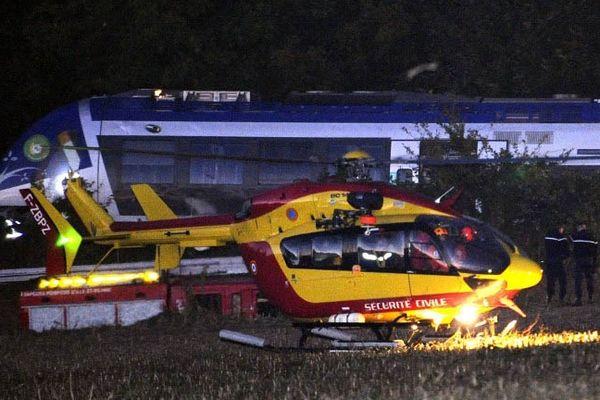 D'importants moyens de secours avaient été déployés lors de la collision de St Médard entre un train tt un camion