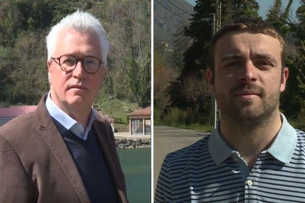 À gauche, André Ipert, le maire sortant de Breil sur Roya. À droite, Sébastien Olharan, le futur maire de la commune.