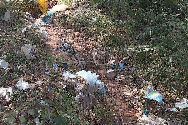Bagnols-en-Forêt (Var) : des sacs plastiques s'envolent de la décharge et s'accumulent dans la forêt.