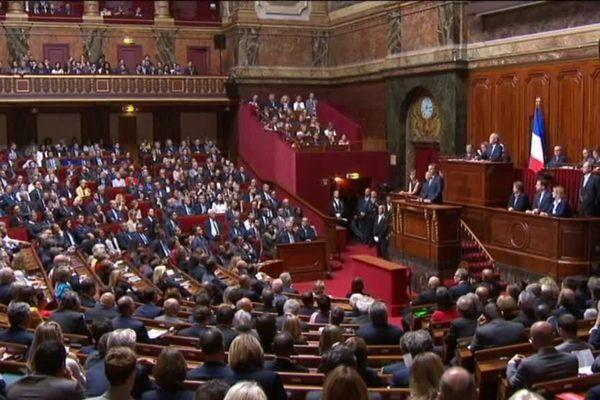 Emmanuel Macron devant les parlementaires réunis en Congrès à Versailles le 3 juillet 2017