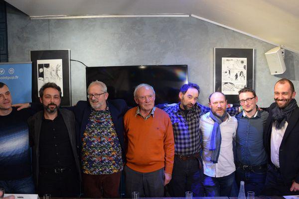 L'équipe de la bande-dessinée au complet pour le lancement du 36ème album.