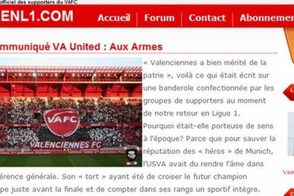 Le site internet du VA united appelle les supporters à refuser la venue du RC Lens dans leur stade