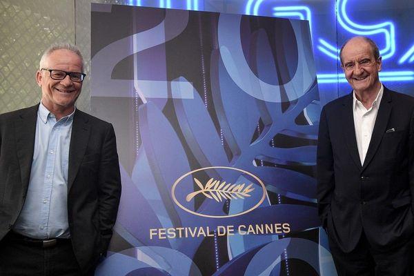 """Thierry Frémaux et Pierre Lescure ce 3 juin lors de l''annonce de la """"sélection officielle"""" du Festival de cannes 2020"""