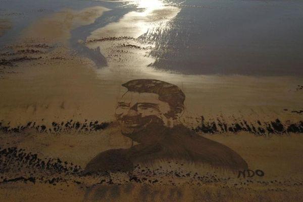 Le portrait de Johnny Hallyday réalisé par l'artiste Frédéric Cadorel