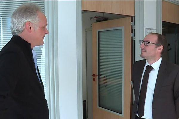 Franck Riber, gilet jaune, et le député Denis Masseglia (LREM)