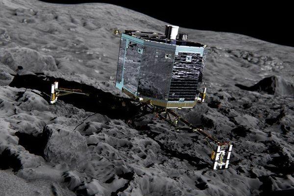 Image de synthèse de Philae après son atterrissage