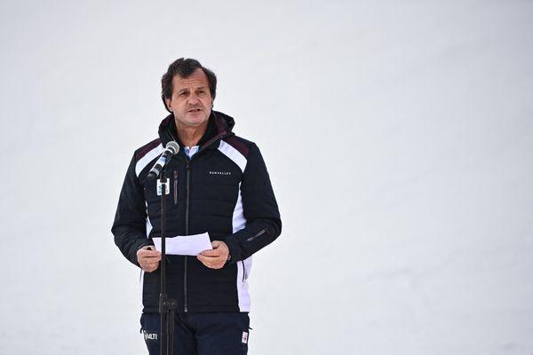 Michel Vion lors de la cérémonie de clôture des Mondiaux de ski alpin à Cortina d'Ampezzo (Italie) le 21 février 2021.