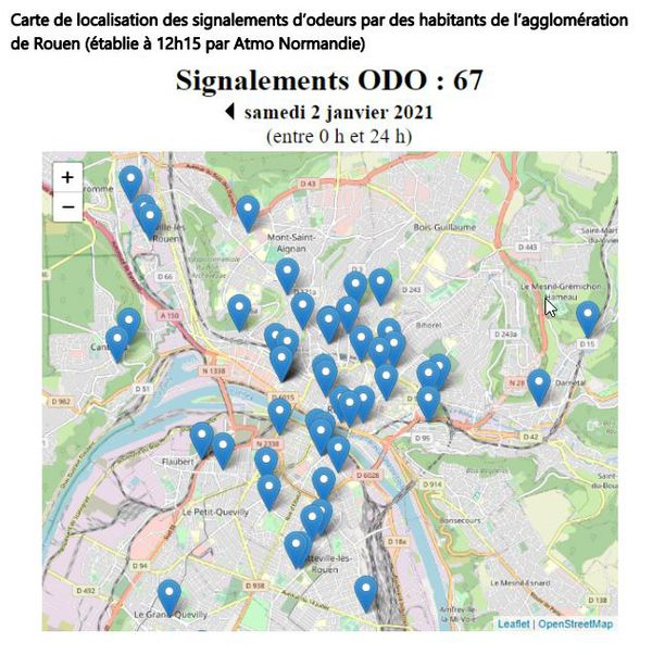 Localisation sur une carte de l'agglomération rouennaise du lieu d'où ont été signalés des odeurs suspectes le 2 janvier 2021