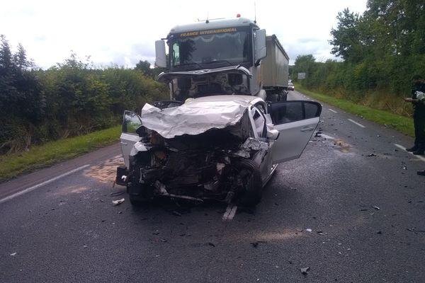 Accident ce jeudi 29 juillet 2021, RN 149 entre Parthenay et Bressuire.