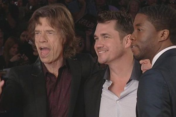 Mick Jagger, le réalisateur Tate Taylor et le comédien Chadwick Boseman, ce vendredi soir au festival du cinéma américain