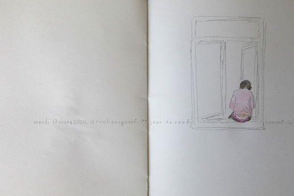 Crayon et aquarelle/papier 22/34 cm, journal de bord de confinement - 17 mars 2020