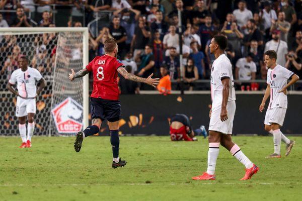 Xeka célèbre la victoire de Lille face au PSG, dimanche face au Paris Saint-Germain lors du Trophée des champions.
