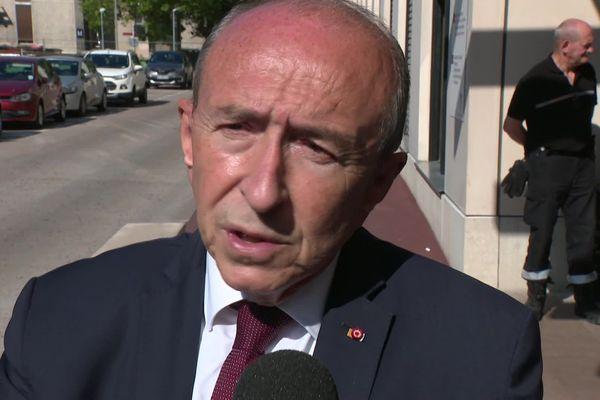 Gérard Collomb, maire de Lyon, s'est rendu ce samedi matin au chevet des victimes de l'explosion du colis piégé de la rue Victor Hugo - 25/5/19