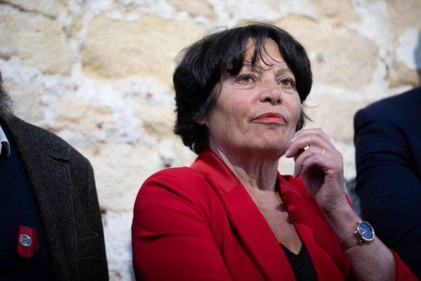 Michèle Rivasi lors de la conférence de presse des candidats d'Europe Ecologie Les Verts (EELV) aux élections européennes pour présenter leur plan d'action, à Paris le 25 mars 2019.