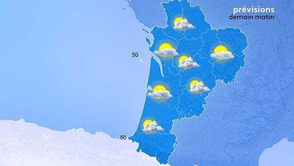 Les minimales oscilleront demain matin  entre 4 et 12 degrés. Il fera encore 4 degrés à Ussel mais Limoges affichera 8 et Arcachon 12 !