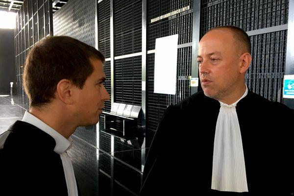 Me Crestin et Me Cabioch défenseurs de Lydie Troadec au palais de Justice de Nantes, à l'issue de leur plaidoirie
