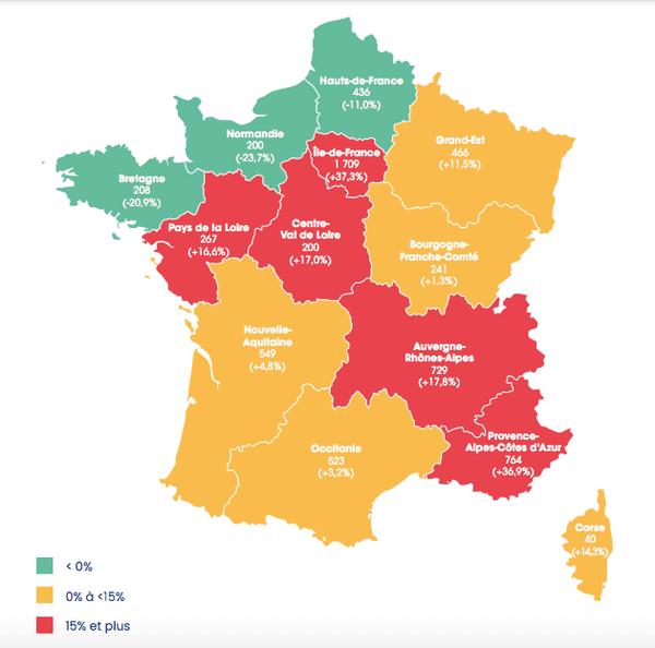 Carte d'évolution des défaillances par région au 2ème trimestre 2021