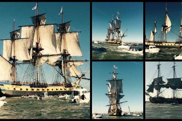 L'Hermione rentre dans l'estuaire de la Gironde, au mois d'août 2015