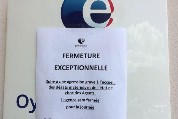 L'agence Pôle emploi fermée à Oyonnax