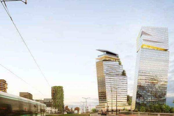 Dessinés par l'architecte Jean Nouvel, les deux tours culmineront à 180 et 120 mètres.