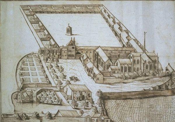 Vue perspective de la Chartreuse de Champmol - dessin d'Aimé Piron 1686