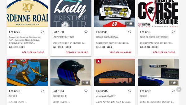Cette vente mettra aux enchères 43 lots. Tous liés au monde de la course automobile. Tous offerts par des acteurs du monde de l'automobile, des constructeurs, des pilotes, des artistes...