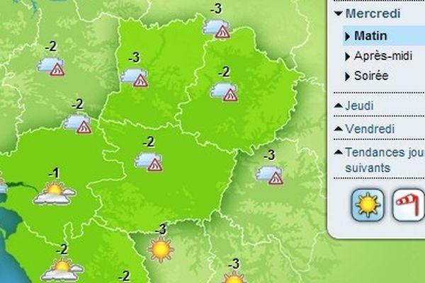 Les températures demain matin dans la région