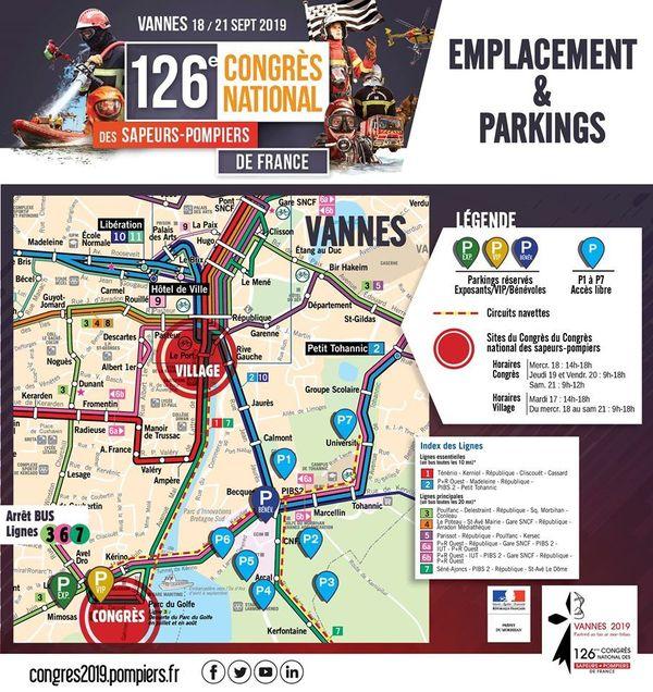La carte des transports pour le congrès des pompiers de Vannes