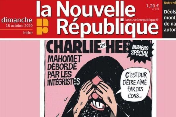 """""""Une"""" datée du 18 octobre 2020 de La Nouvelle République représentant une caricature de Mahomet réalisée par Charlie Hebdo."""