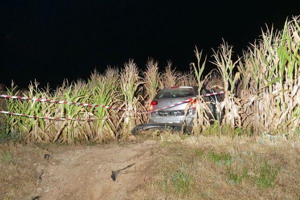 La voiture a terminé sa course dans un champ de maïs