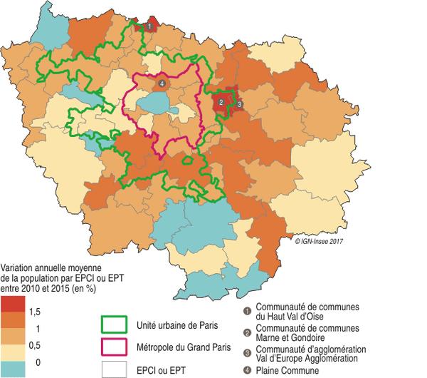 Les recensements de la population 2009 et 2014 en Île-de-France.