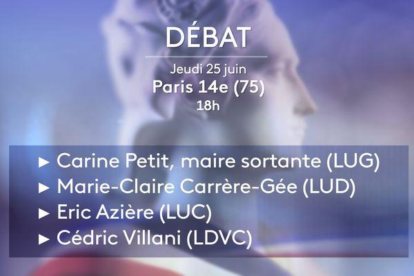 Les quatre candidats qui sont maintenus au second tour dans le XIVe arrondissement de Paris ont débattu sur France 3 Paris Ile-de-France ce jeudi.