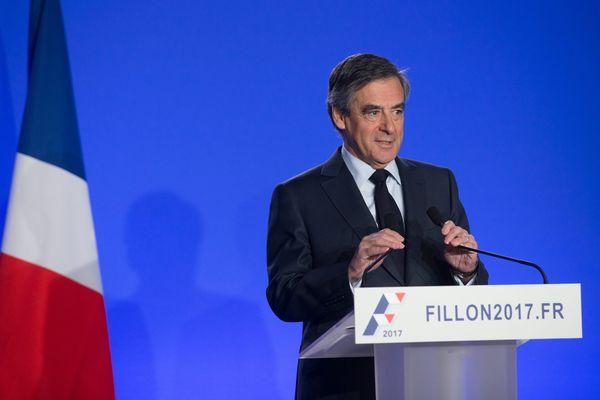 François Fillon lors de sa conférence de presse, le 1er mars 2017 à Paris.