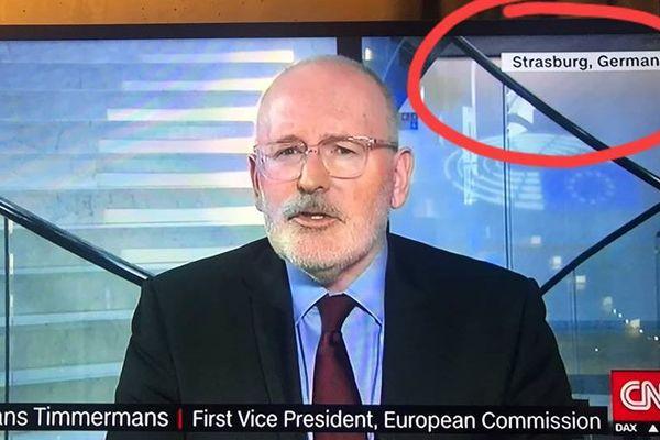 Au cours de son duplex depuis le Parlement Européen, CNN a localisé Strasbourg en Allemagne.