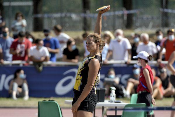 Coupe de France d'Athlétisme à Vénissieux le 6 septembre 2020 -Mélina Robert-Michon (Lyon Athlé) pendant son concours de lancer de disque au cours de la Coupe de France d'Athlétisme au stade du Rhône dans le parc de Parilly à Vénissieux.