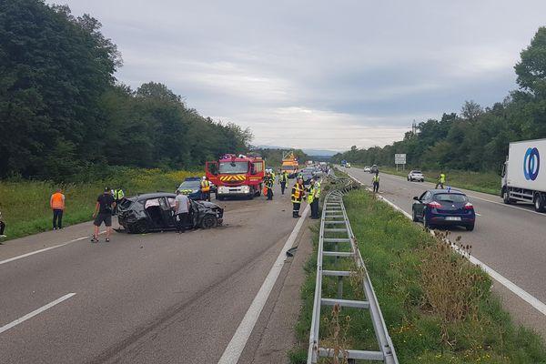 Accident sur l'A35 ce samedi matin, quatre personnes blessées, évacuées par les pompiers