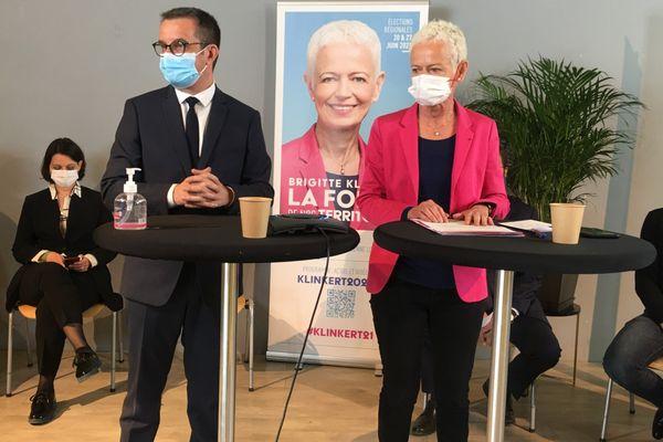 Brigitte Klinkert (avec Christophe Choserot, le maire de Maxéville et directeur de campagne) lors du lancement de sa campagne.