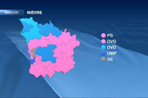 La carte des cantons de la Nièvre à l'issue du 2e tour des élections départementales de mars 2015